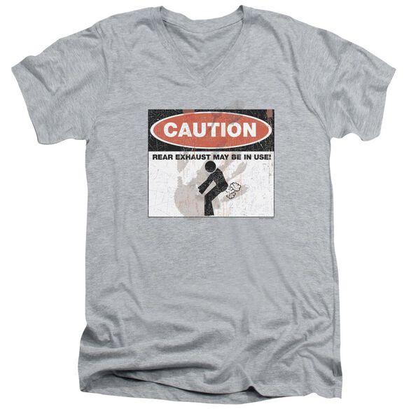 Caution Short Sleeve Adult V Neck Athletic T-Shirt