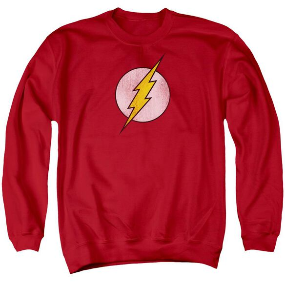 Dc Flash Logo Distressed Adult Crewneck Sweatshirt