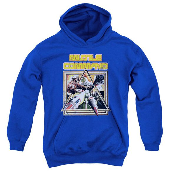 Atari Missle Commander Youth Pull Over Hoodie Royal