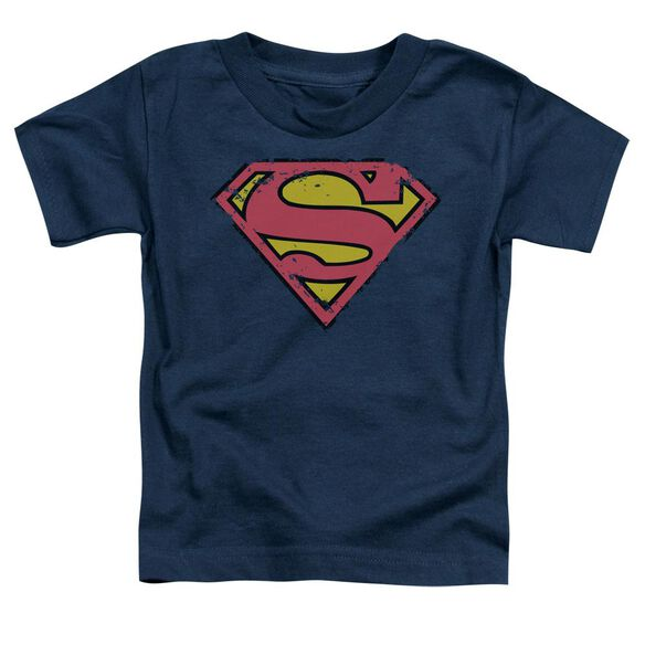 SUPERMAN DISTRESSED SHIELD - S/S TODDLER TEE - NAVY - T-Shirt