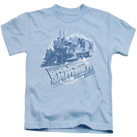 Back To The Future Iii Time Train Short Sleeve Juvenile Light Blue T-Shirt