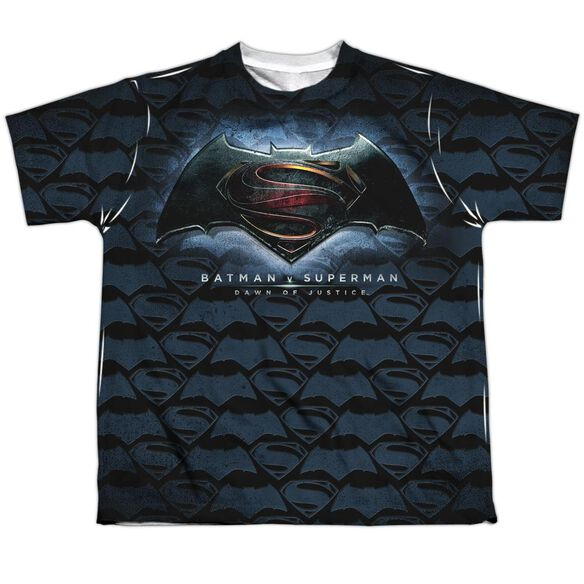 Batman Vs Superman Logo Pattern Short Sleeve Youth Poly Crew T-Shirt