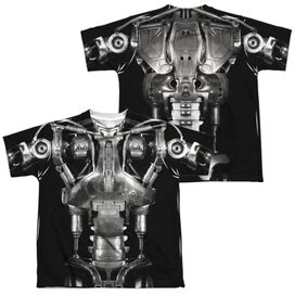 Terminator Endoskeleton Costume (Front Back Print) Short Sleeve Youth Poly Crew T-Shirt