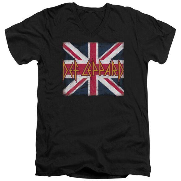 Def Leppard Union Jack Short Sleeve Adult V Neck T-Shirt