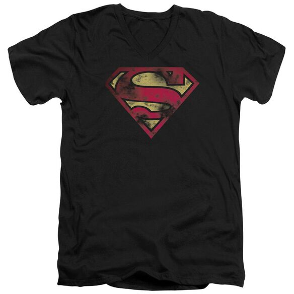 Superman War Torn Logo Short Sleeve Adult V Neck T-Shirt