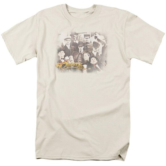 Cheers Opening Distressed Short Sleeve Adult Cream T-Shirt