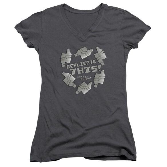 Sg1 Replicate This Junior V Neck T-Shirt