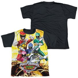 Power Rangers Charged For Battle Short Sleeve Youth Front Black Back T-Shirt