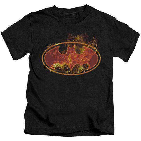 Batman Flames Logo Short Sleeve Juvenile Black Md T-Shirt