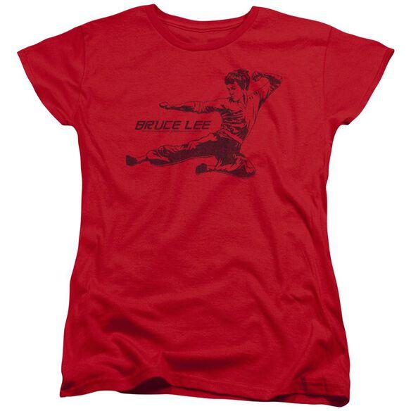 Bruce Lee Line Kick Short Sleeve Womens Tee T-Shirt