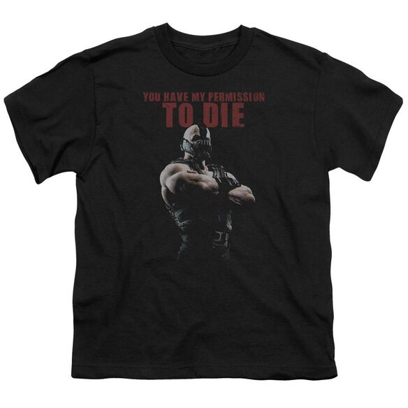 Dark Knight Rises Permission To Die Short Sleeve Youth T-Shirt