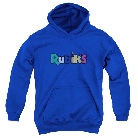Rubik's Cube Smudge Logo Youth Pull Over Hoodie Royal