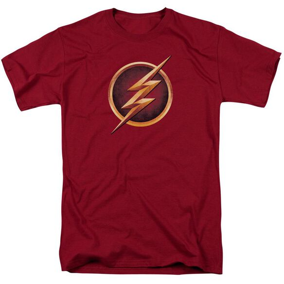 The Flash Chest Logo Short Sleeve Adult Cardinal T-Shirt