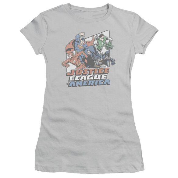 Jla Four Against Crime Short Sleeve Junior Sheer T-Shirt