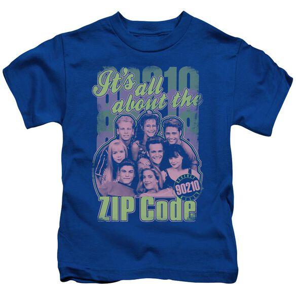 90210 Zip Code Short Sleeve Juvenile Royal Blue T-Shirt