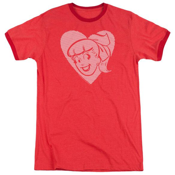 Archie Comics Betty Hearts Adult Heather Ringer Red