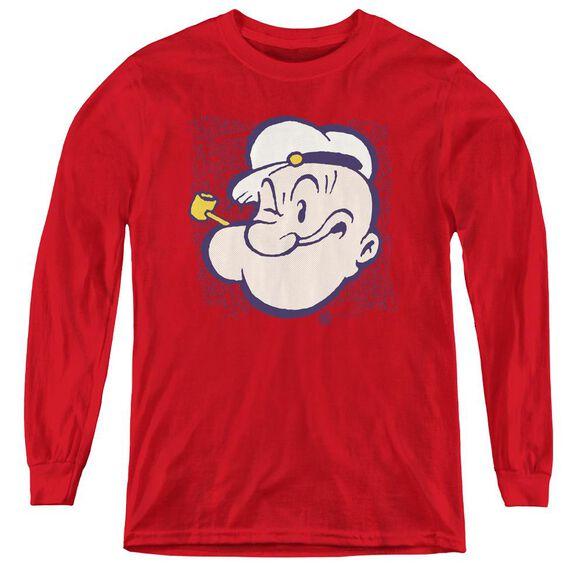 Popeye Head - Youth Long Sleeve Tee - Red