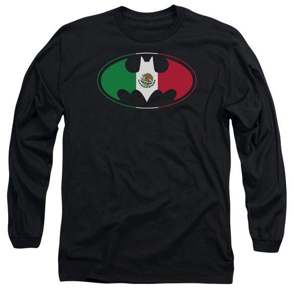 Batman Mexican Flag Shield Long Sleeve Adult T-Shirt