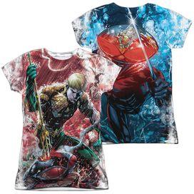 Jla Aquaman Vs Manta (Front Back Print) Short Sleeve Junior Poly Crew T-Shirt
