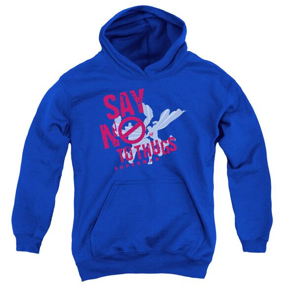 Superman Say No To Thugs Youth Pull Over Hoodie Royal