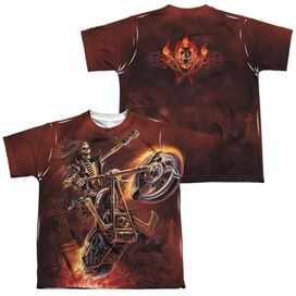 Anne Stokes Hellrider (Front Back Print) Short Sleeve Youth Poly Crew T-Shirt
