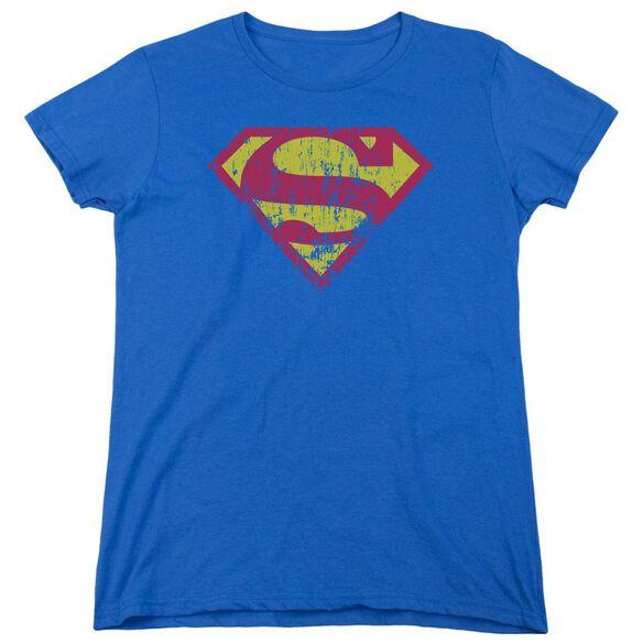 Superman Classic Logo Distressed Short Sleeve Womens Tee Royal T-Shirt