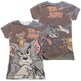 Tom And Jerry Up To No Good (Front Back Print) Short Sleeve Junior Poly Crew T-Shirt
