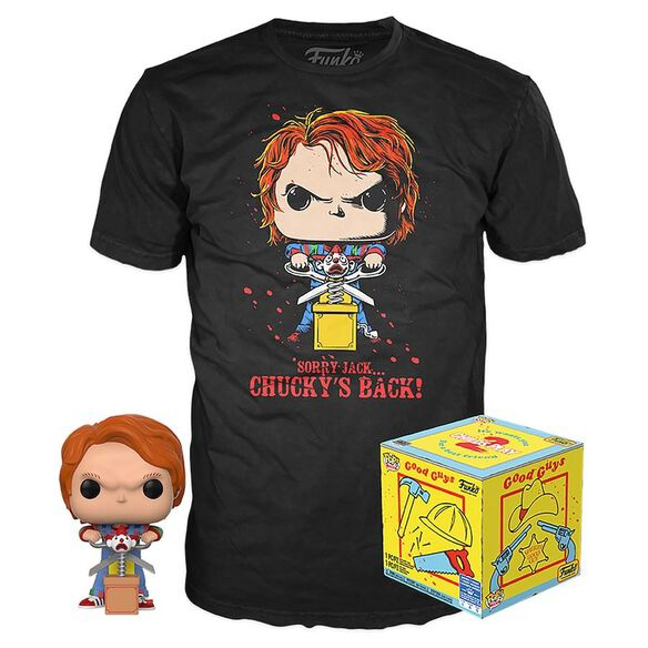 Funko Pop! Chucky With Jack & Scissors: Pop & Tee Combo