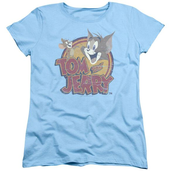 Tom And Jerry Water Damaged Short Sleeve Womens Tee Light T-Shirt