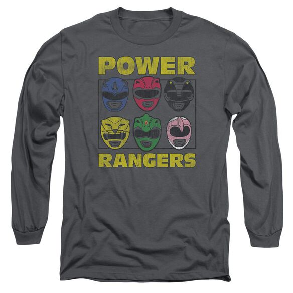Powr Rangers Ranger Heads Long Sleeve Adult T-Shirt