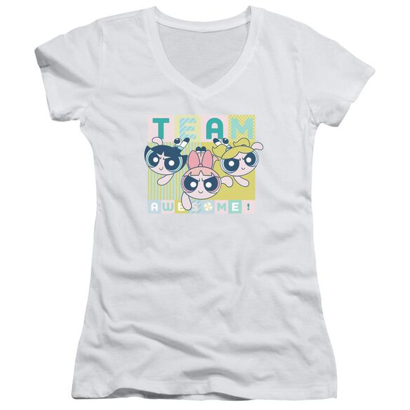 Powerpuff Girls Awesome Block Junior V Neck T-Shirt