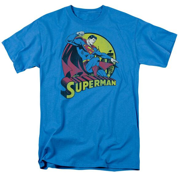 Dc Superman Short Sleeve Adult Turquoise T-Shirt