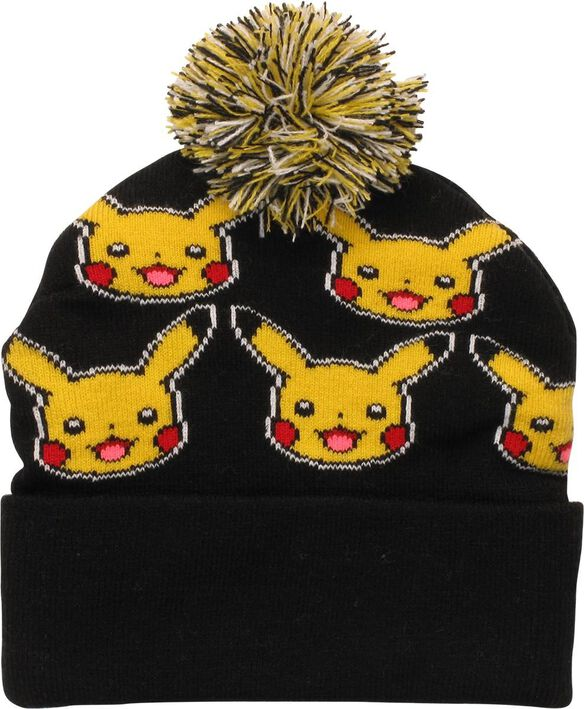 f22204a9af6 Images. Pokemon Pikachu Faces All Over Cuff Pom Beanie