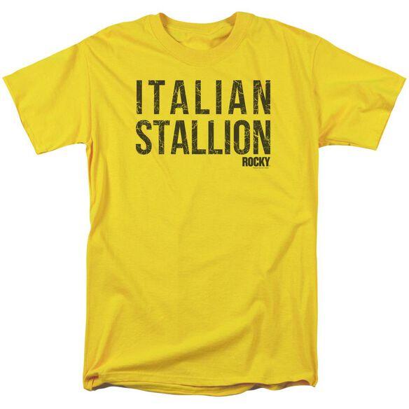 Rocky Italian Stallion Short Sleeve Adult Yellow T-Shirt