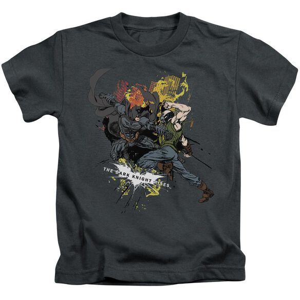 Dark Knight Rises Fight For Gotham Short Sleeve Juvenile Charcoal T-Shirt