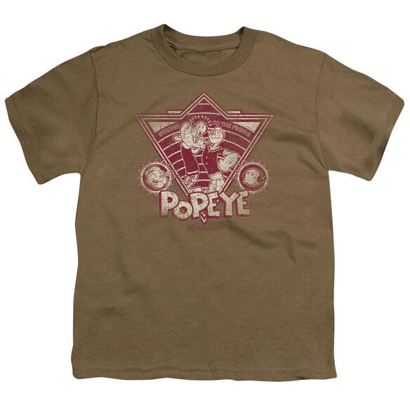 Popeye Strong To The Finish Vintage Short Sleeve Youth Safari T-Shirt
