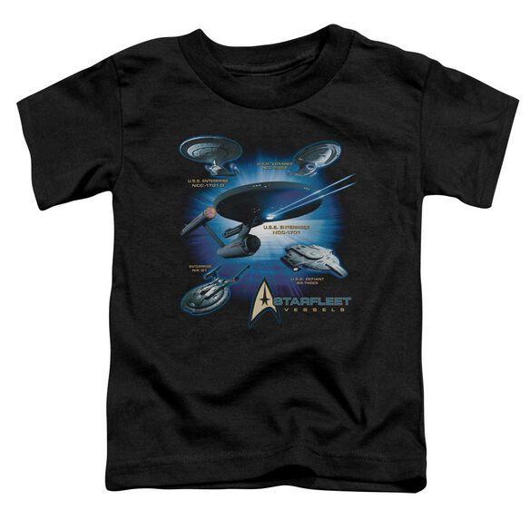 Star Trek Starfleet Vessels Short Sleeve Toddler Tee Black Md T-Shirt