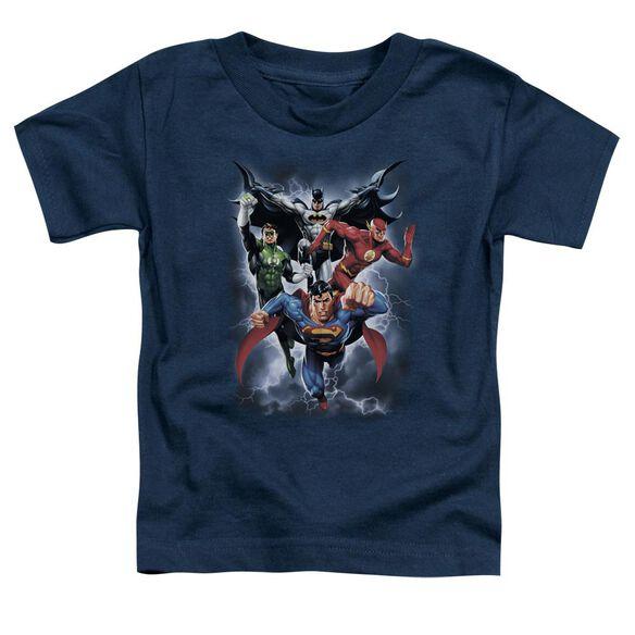Jla The Coming Storm Short Sleeve Toddler Tee Navy Lg T-Shirt