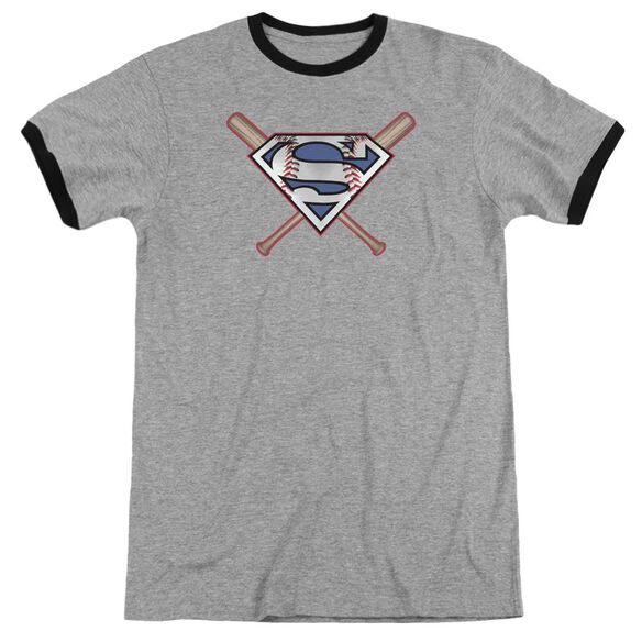 Superman Crossed Bats Adult Ringer Heather Black