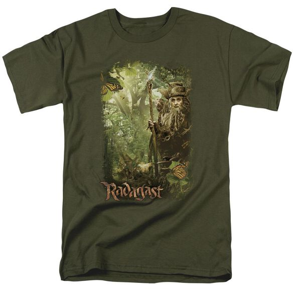 The Hobbit In The Woods Short Sleeve Adult Military Green T-Shirt