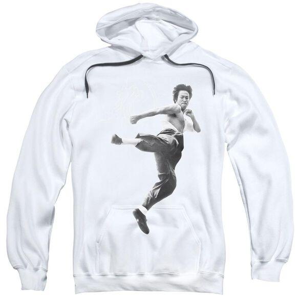 Bruce Lee Flying Kick Adult Pull Over Hoodie