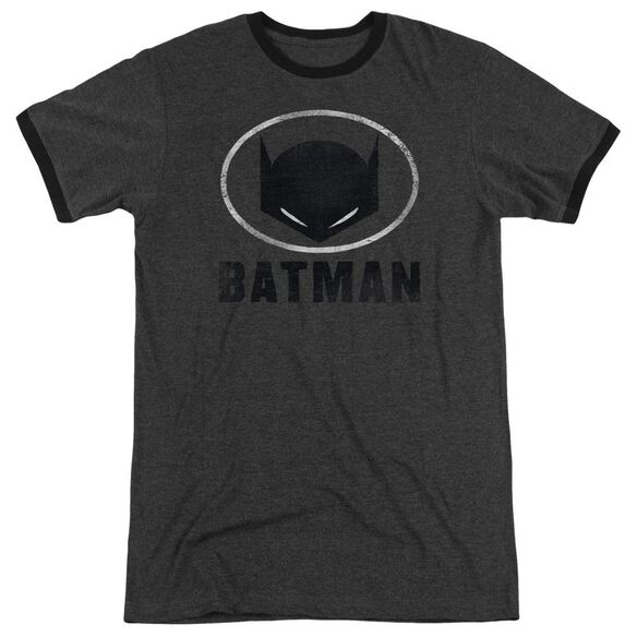 Batman Mask In Oval Adult Heather Ringer Charcoal