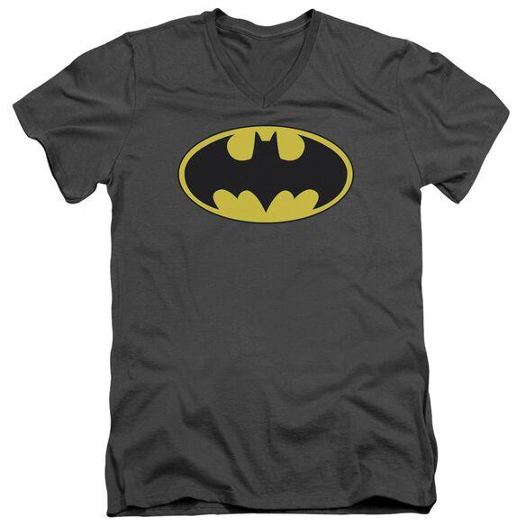 Batman Classic Bat Logo Short Sleeve Adult V Neck T-Shirt