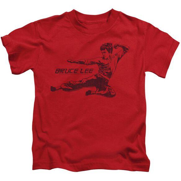 Bruce Lee Line Kick Short Sleeve Juvenile Red T-Shirt