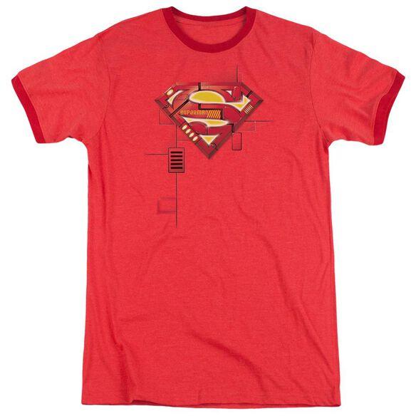 Superman Super Mech Shield Adult Heather Ringer Red