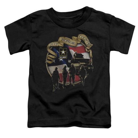 Army Duty Honor Country Short Sleeve Toddler Tee Black T-Shirt