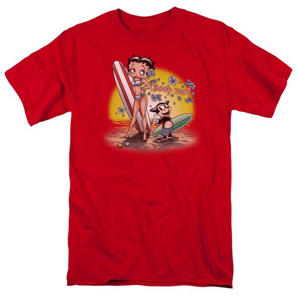 Betty Boop Surf Short Sleeve Adult Red T-Shirt