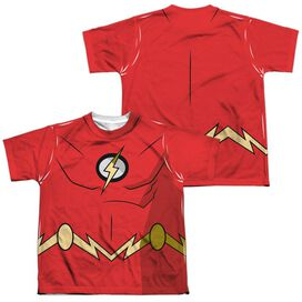 Batman Unlimited Flash Uniform (Front Back Print) Short Sleeve Youth Poly Crew T-Shirt