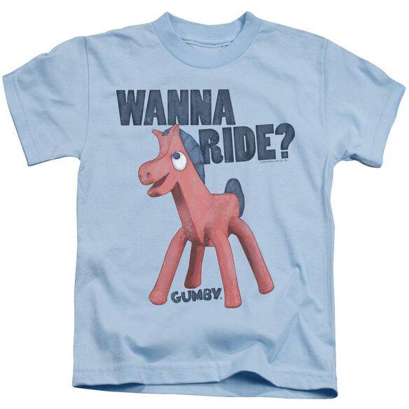 Gumby Wanna Ride Short Sleeve Juvenile Light Blue Md T-Shirt