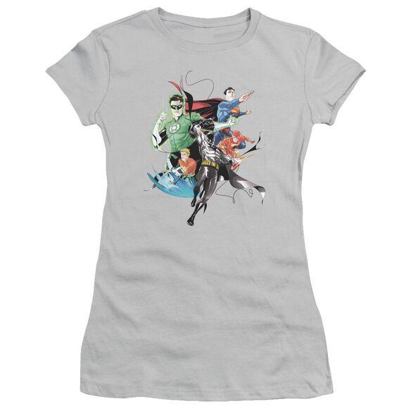 Jla Mashup Short Sleeve Junior Sheer T-Shirt